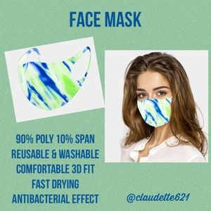 Accessories - Fashion Watercolor Print Face Mask /Grn